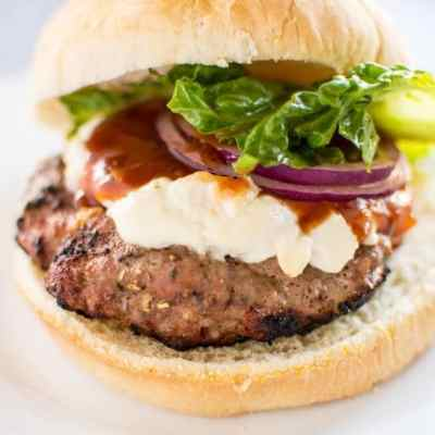 Turkey Burgers with Goat Cheese & Peach BBQ Sauce