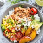 Slow Cooker Peach Jalapeño Chicken Bowls