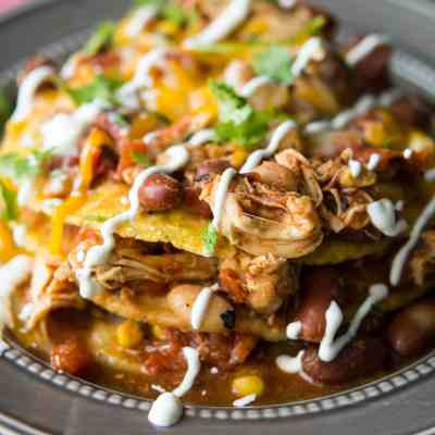 Slow Cooker Mexican Chili Tostada Stacks