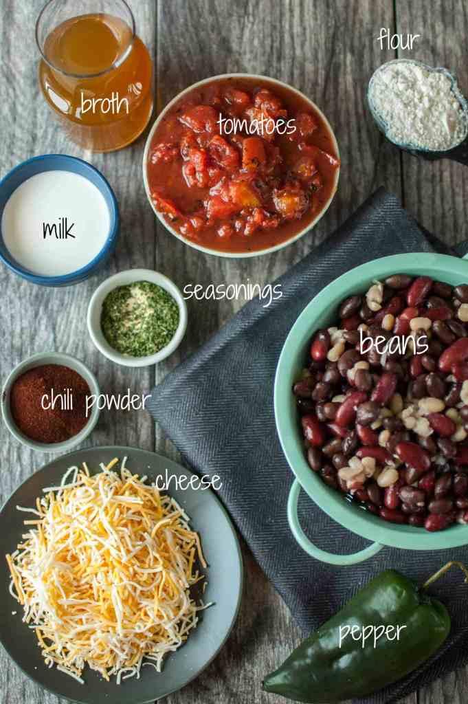 Slow Cooker Cheesy 3 Bean Chili
