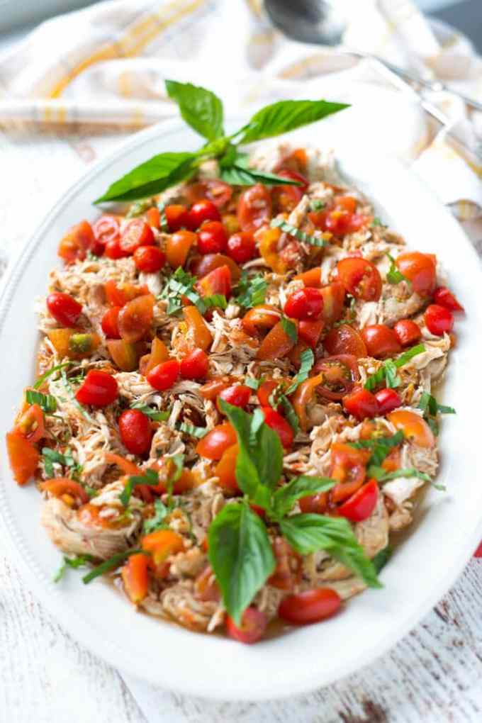 Slow Cooker Balsamic Tomato Basil Pulled Chicken