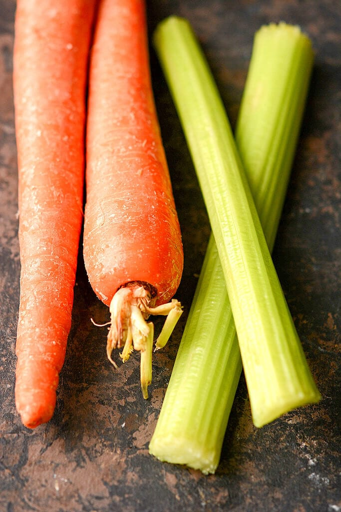 Raw Carrots and Celery - Slow Cooker Bolognese