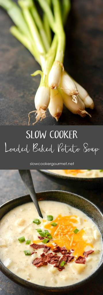 Slow Cooker Loaded Baked Potato Soup - Slow Cooker Gourmet