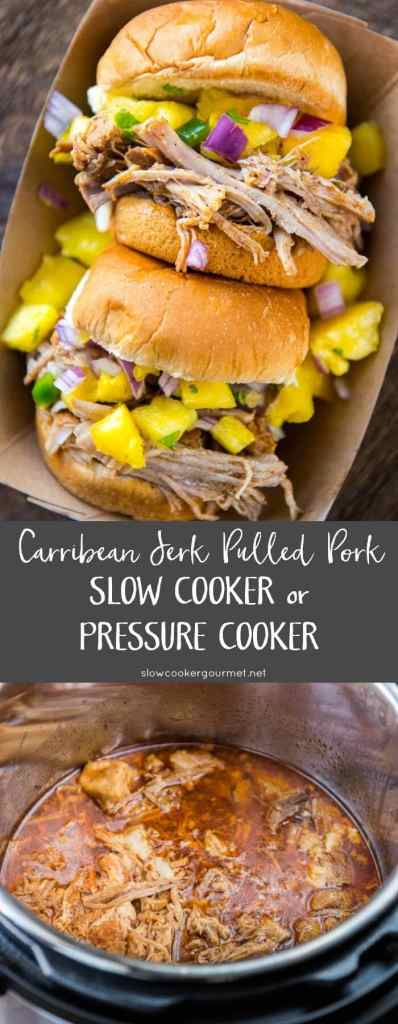 Carribean Jerk Pulled Pork is easy to make in the slow cooker or pressure cooker. Perfect for parties or family dinners and makes great leftovers!