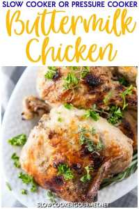 Delicious Buttermilk Chicken is a simple and quick weeknight family dinner that can be made in the slow cooker or Instant Pot!! #AEDairy #ad #slowcookergourmet #buttermilk #chicken