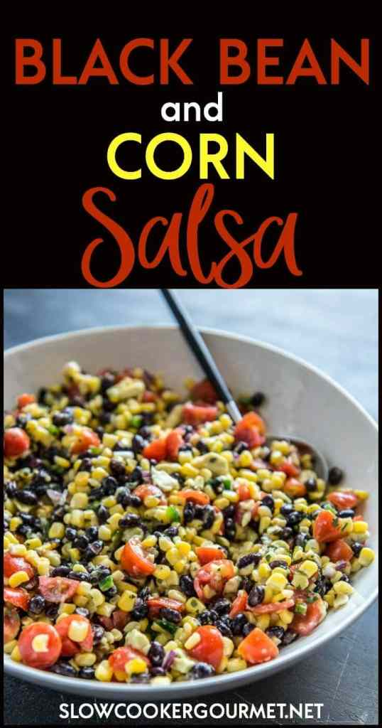 Black Bean and Corn Salsa is about to become your new favorite party treat! Quick to make and perfect for topping tacos, bowls or even for dipping chips!