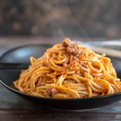 veggie packed instant pot spaghetti with meat sauce slow cooker