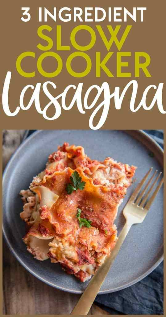 Need a quick fix and no fuss meal in a pinch? 3 Ingredient Slow Cooker Lasagna is about as easy as it gets and it's a meal the whole family will love! Who wouldn't want to come home to a deliciously cheesy lasagna for dinner?