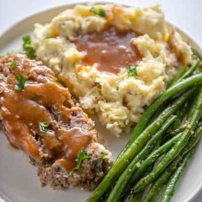 Slow Cooker Meatloaf and Buttermilk Mashed Potatoes