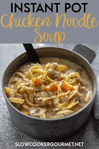 It's time for full on comfort food with this classic soup turned up a notch and made easy using the electric pressure cooker. Instant Pot Creamy Chicken Noodle Soup is perfect to cozy up with on a cold night. #slowcookergourmet #instantpot #chickensoup