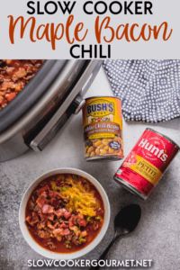 Looking for a chili recipe that is simple to make yet turns up the flavor dial by several notches? This Slow Cooker Maple Bacon Chili will have you craving chili for dinner every day! #as #chilipride #slowcookergourmet #slowcooker #chilirecipe #slowcookerchili