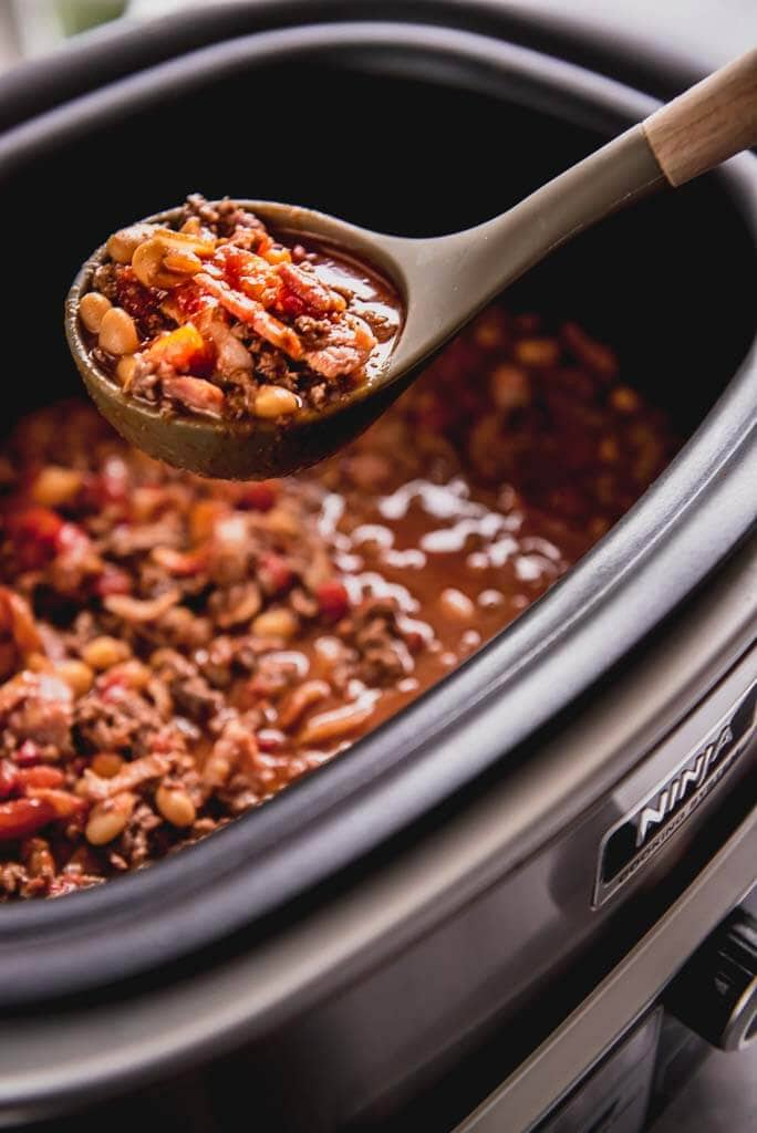 slow cooker full of maple bacon chili