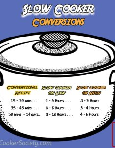 Make your favorite oven and stove top recipes in the slow cooker using this chart also rh slowcookersociety