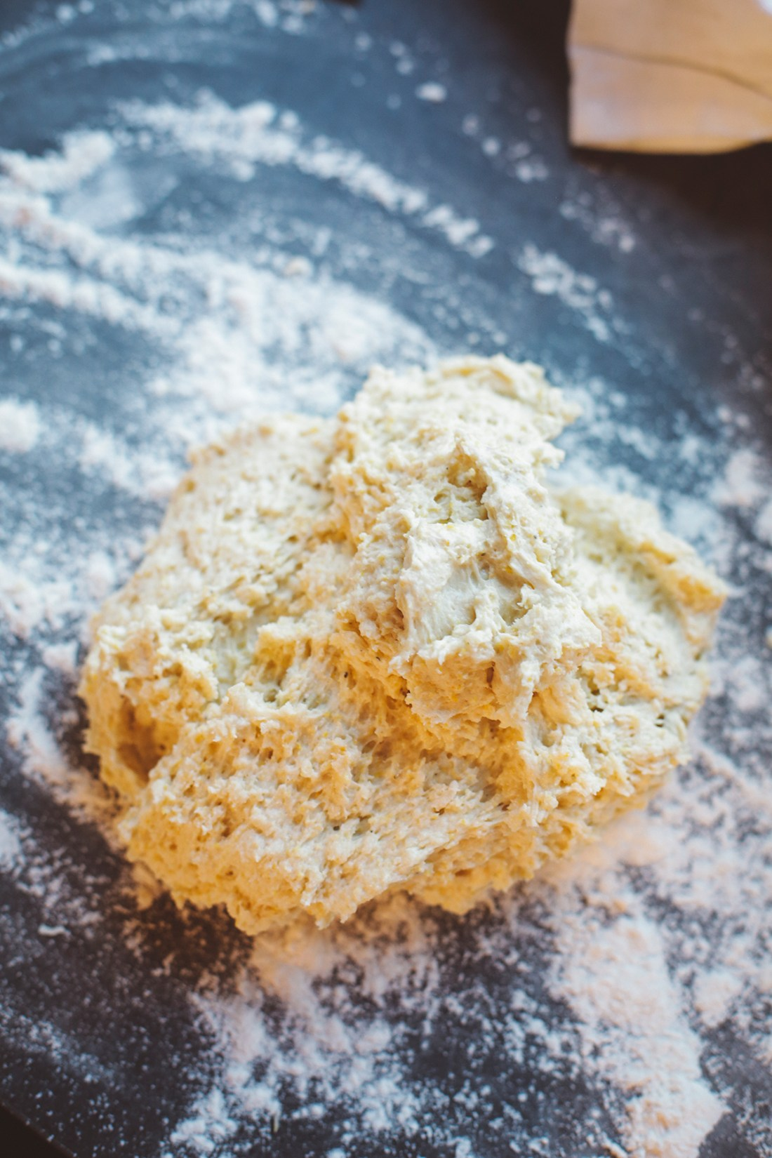 Gently mixed scone mixture on a well-floured surface