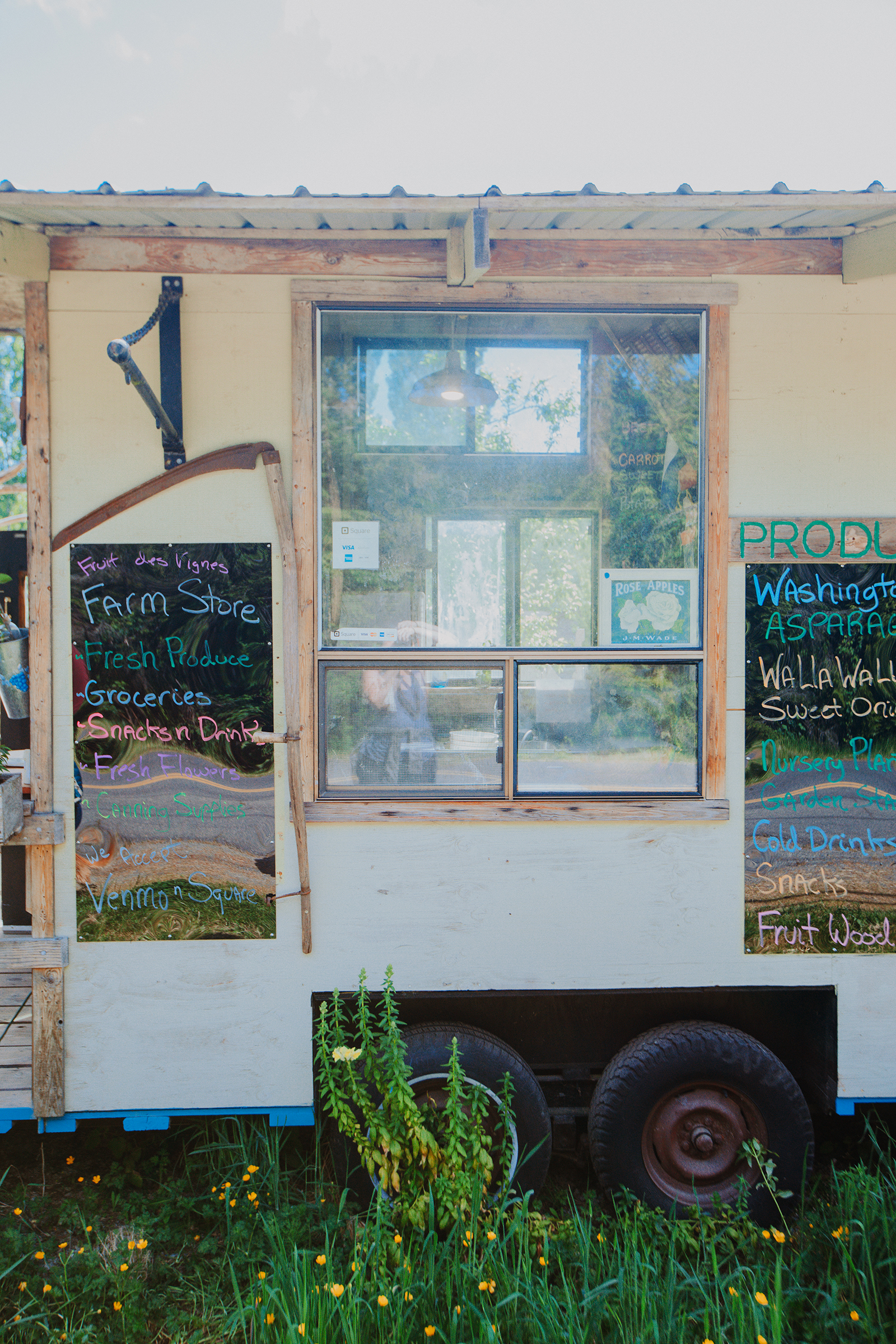 The Fruit des Vignes farm stand rests on wheels on Vashon Island.