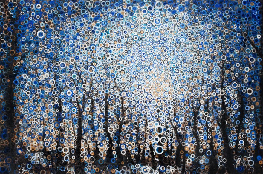 """""""Bear Lithia"""" by Randall Stoltzfus, 2009, oil, iridescence, and gold leaf on linen, 48 by 72 inches"""