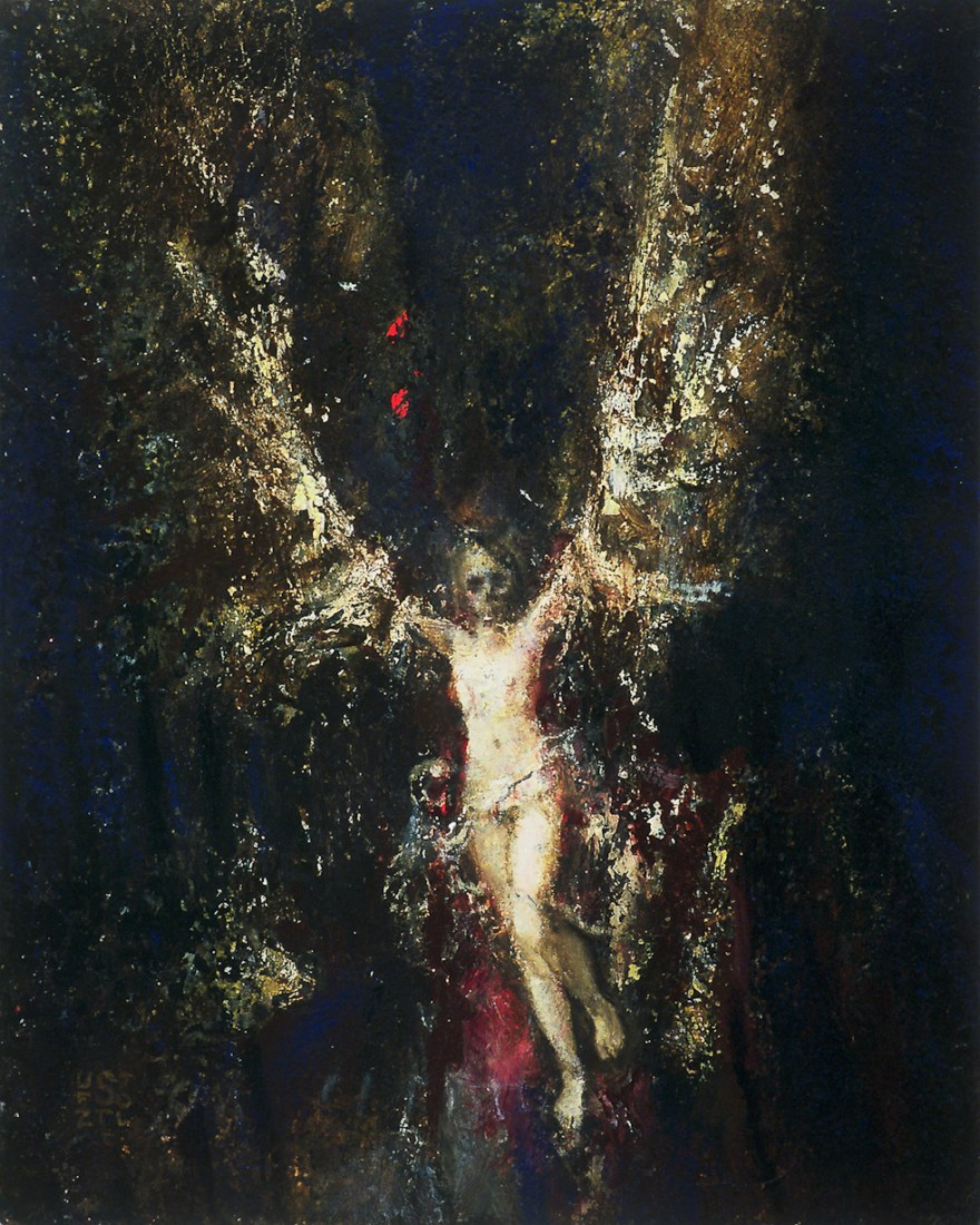 Winged female nude with skull mask in painting 'Death and the Maiden' by Brooklyn artist Randall Stoltzfus