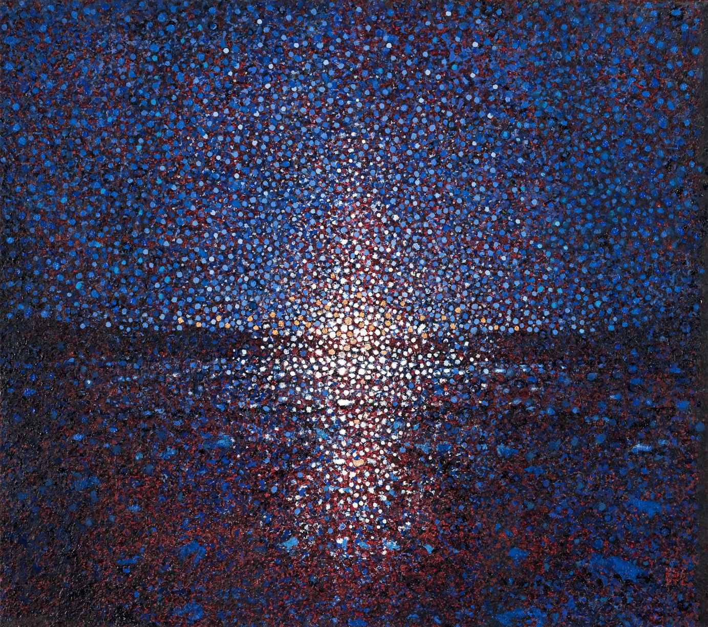 "Estuary, by Randall Stoltzfus, 2009, oil and gold leaf on linen, 32""x36"""
