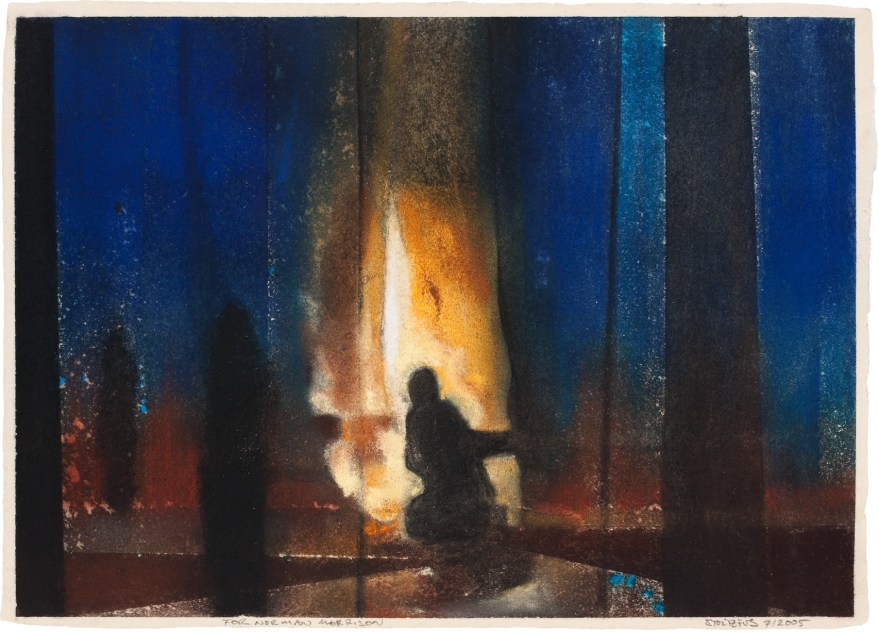 """The drawing """"For Norman Morrison, 3"""" by Randall Stoltzfus, Raw pigment and pastel on handmade paper, 10 by 14 inches"""