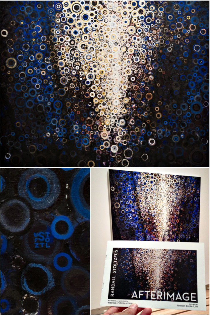 Orans | Painting by Randall Stoltzfus | With detail view showing signature and exhibit catalog | blue, gold, deep shadows and bright light
