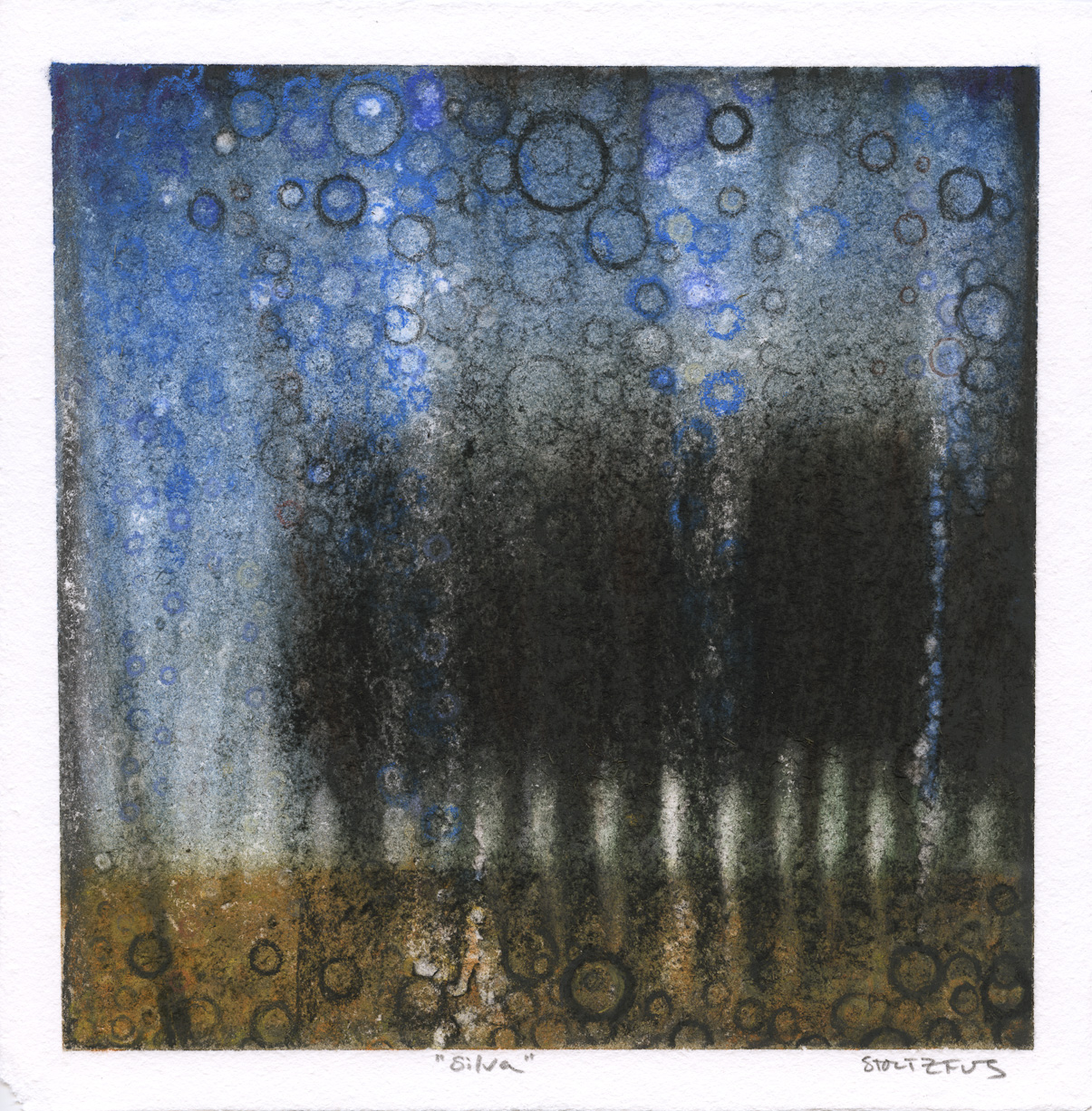 """Silva"" by Randall Stoltzfus, 2012, pigment on paper, 8.5 inches square"