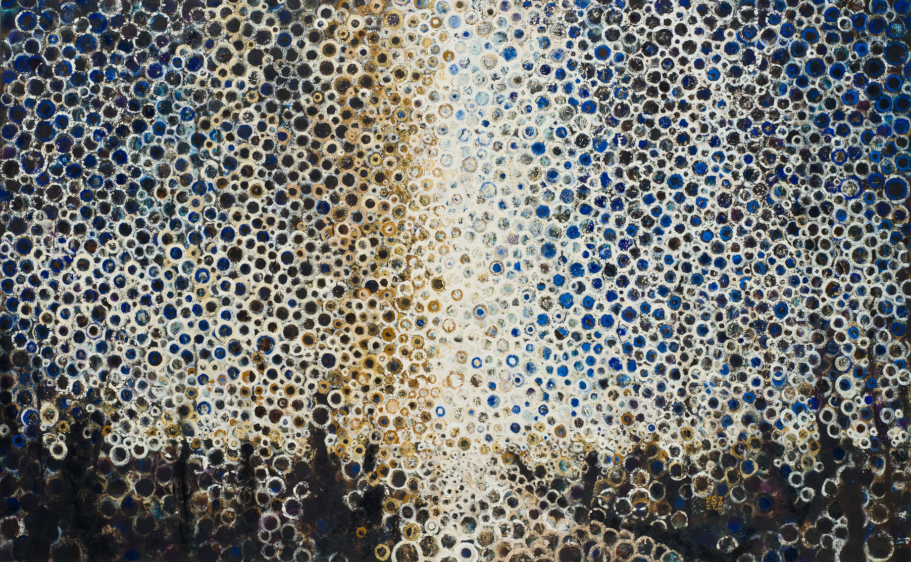 """""""Fold"""" by Randall Stoltzfus, 2013, oil and gold leaf on linen, 46 by 74 inches"""