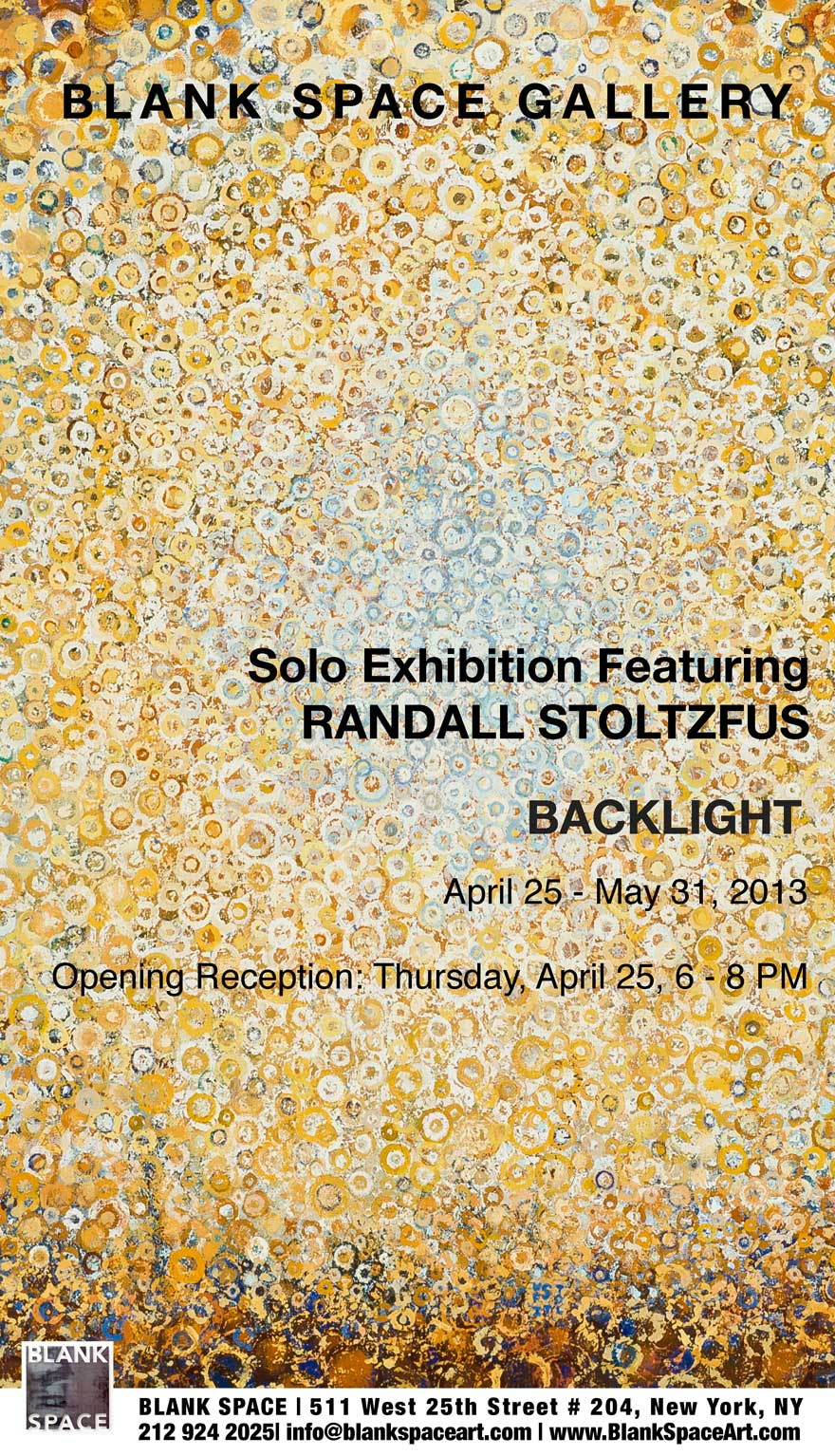Poster for the Randall Stoltzfus Backlight Exhibit at Blank space Gallery