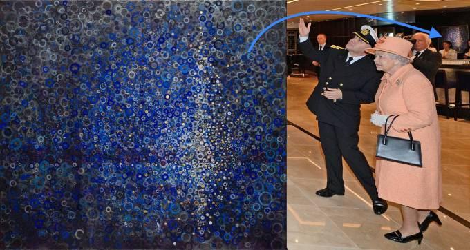 "Queen Elizabeth II walking by my painting ""port"""