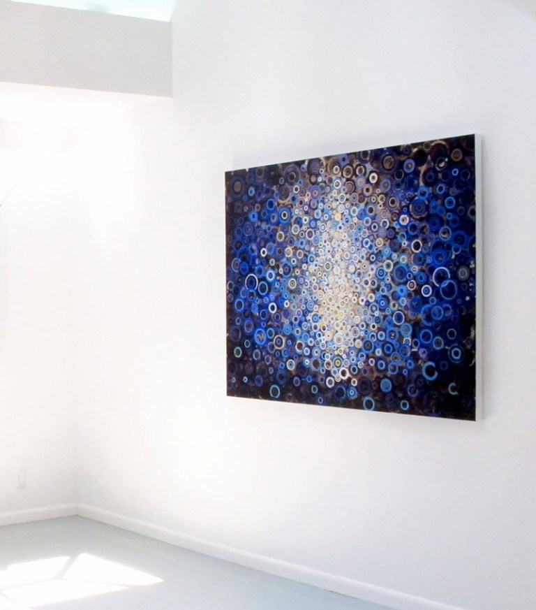 4 by 5 foot blue painting titled 'Woad' by artist Randall Stoltzfus hanging on a white gallery wall