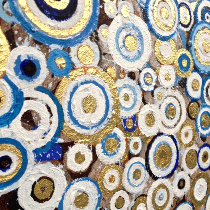Detail showing an angled close-up of blue white and gilded circular brushstokes in the painting 'Woad' by Randall Stoltzfus