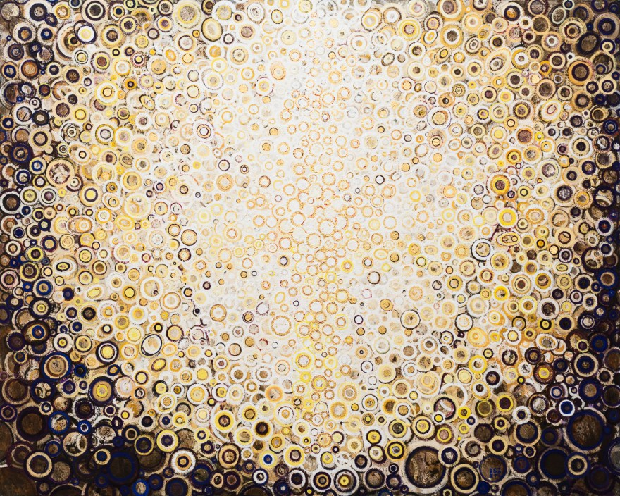 """Corona"" by Randall Stoltzfus, 2016, Acrylic dispersion with gold leaf on recycle polymer canvas, 48 by 60 inches"
