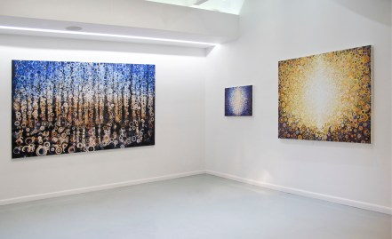 Three painting by Randall Stoltzfus hand in exhibit at Blank Space Gallery in NYC