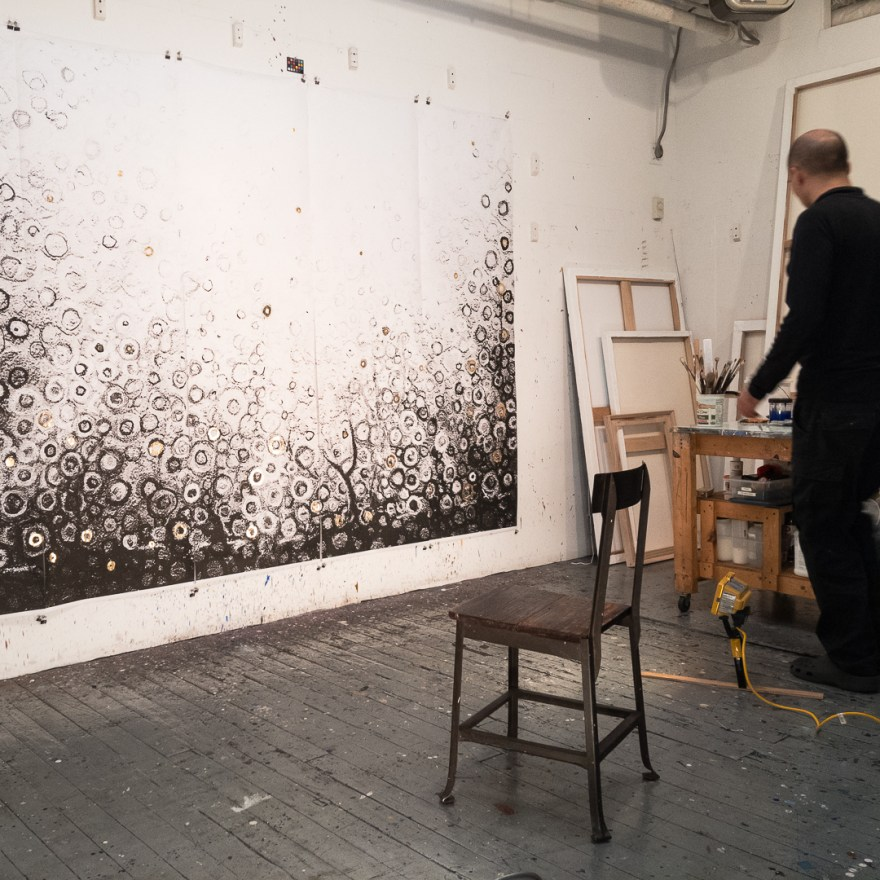 Grace Pentaptych in the studio