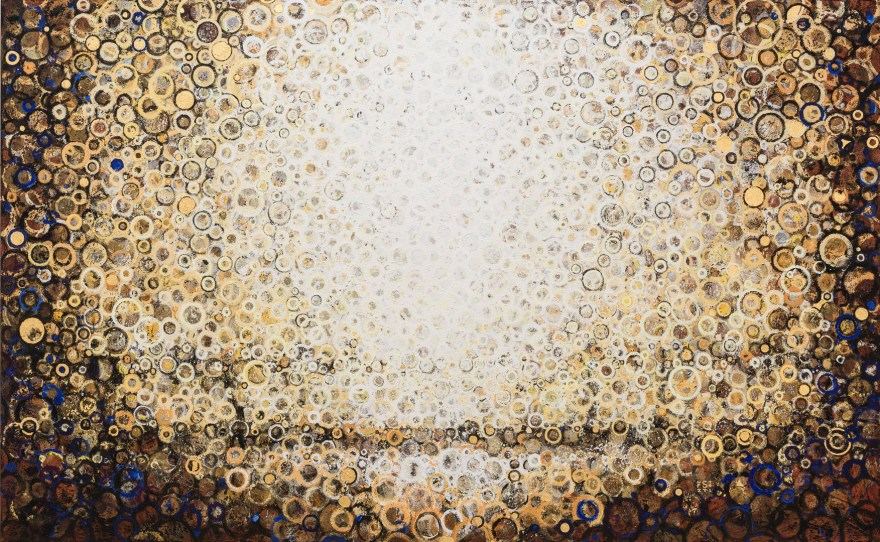 """""""Twice Born""""   A custom commissioned painting by Randall Stoltzfus   2017, Acrylic dispersion and gold leaf on recycled polymer canvas, 52 by 84 inches"""