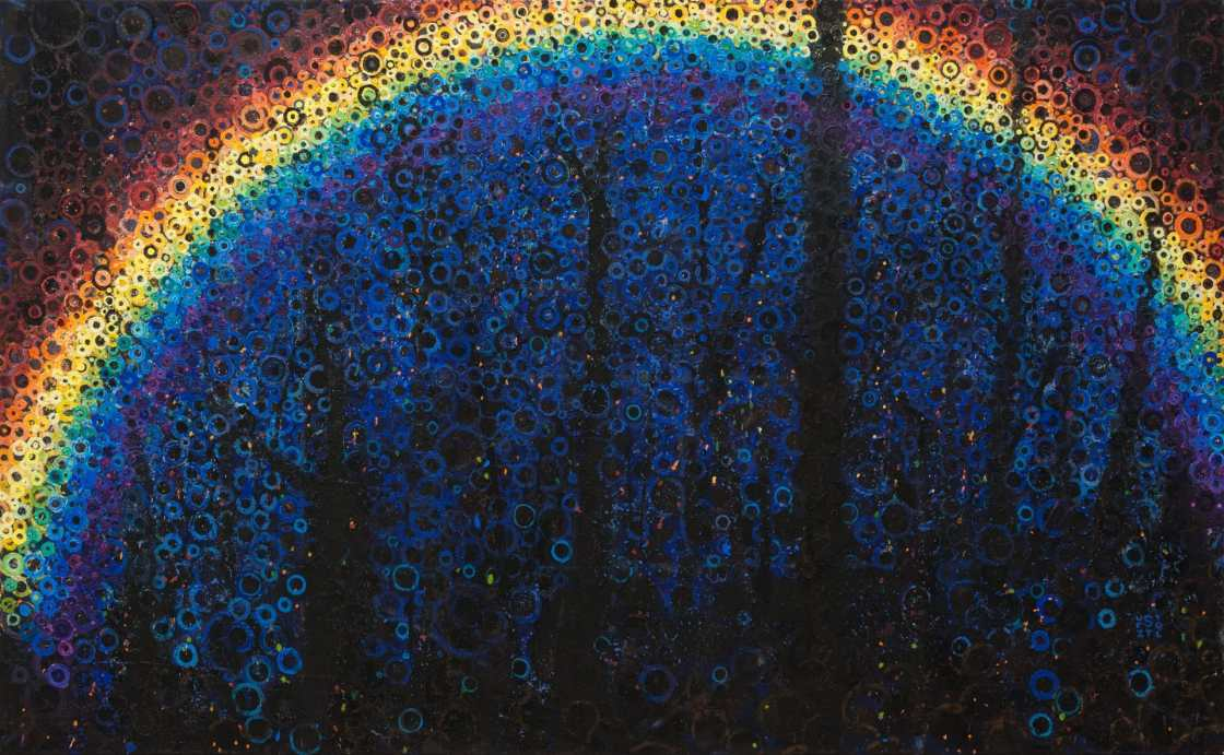 Lost | Seeing a rainbow at sunset inspired this painting by Randall Stoltzfus | A colorful, mysterious artwork made of many shimmering layers of circular brushstokes
