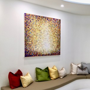 "The painting ""Peal"" by Randall Stoltzfus installed in a patient waiting area"