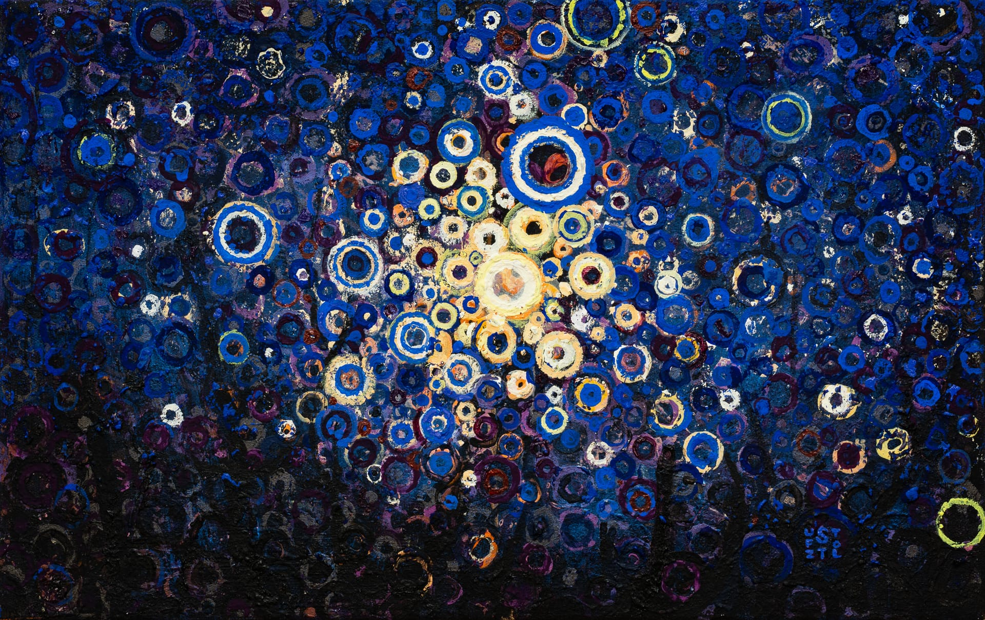 Gently Sparkling | Inspired by Traditional Japanese Sparklers called Senko Hanabi | Old Light by Randall Stoltzfus | 12 by 19 inches | Acrylic dispersion on polymer canvas