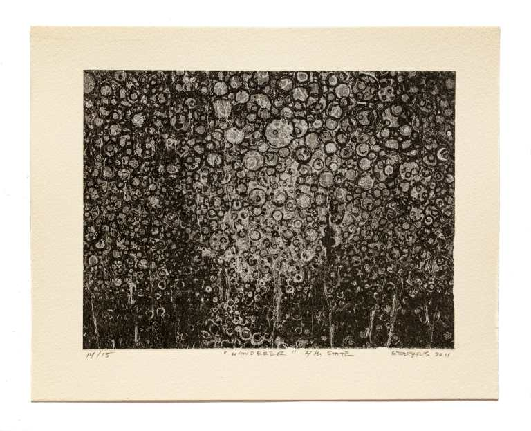 """Hand laid aluminum leaf sparkles from beneath carbon black digital printing in this limited edition artwork titled """"Wanderer 4th State"""" by Brooklyn artist Randall Stoltzfus"""
