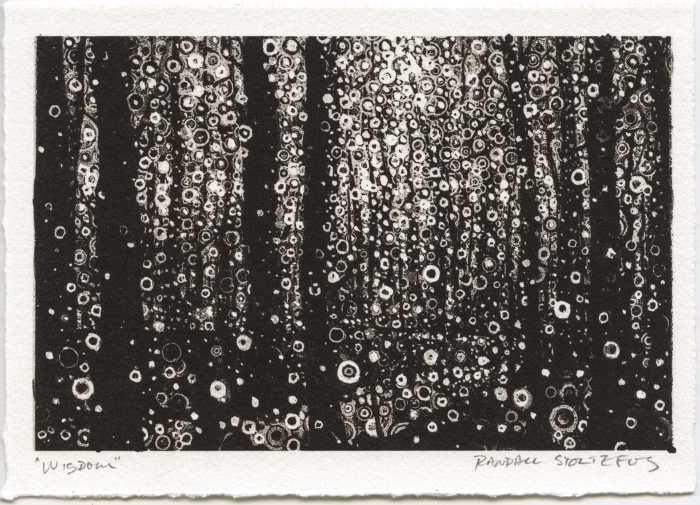 Monochrome print 'Wisdom' signed by artist Randall Stoltzfus