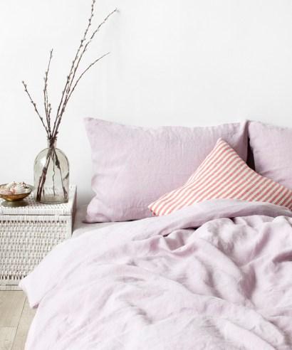 Linen tales bäddset pink lavender