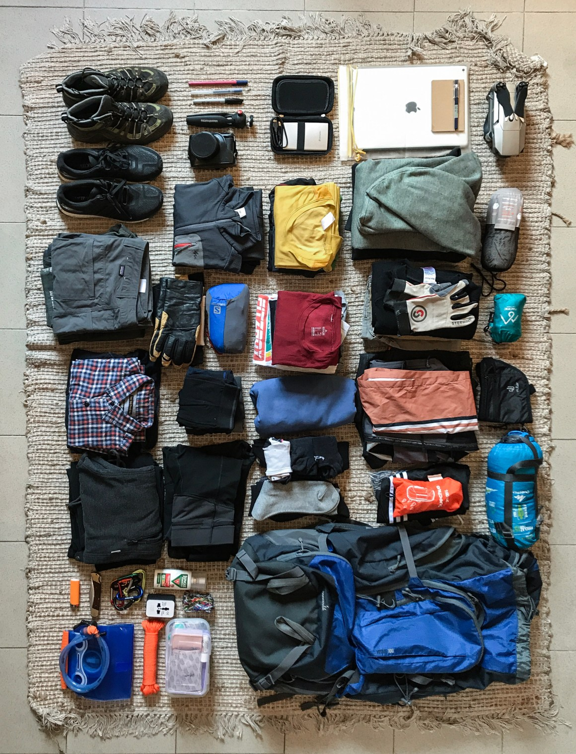 neatly organized backpack for him