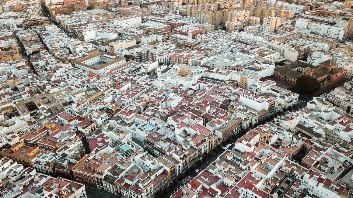 Aerial view of the Triana neighborhood