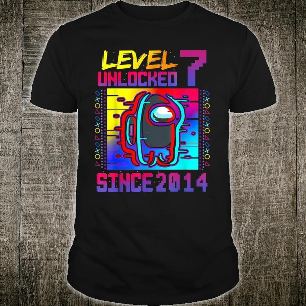 Disstressed Level 7 Unlocked Among With Us 7th Birthday Shirt