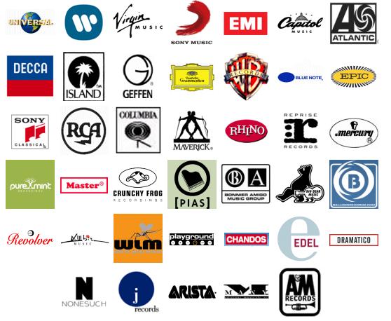 국제음반산업협회(IFIP) 회원사들  (출처: ifpi.org)