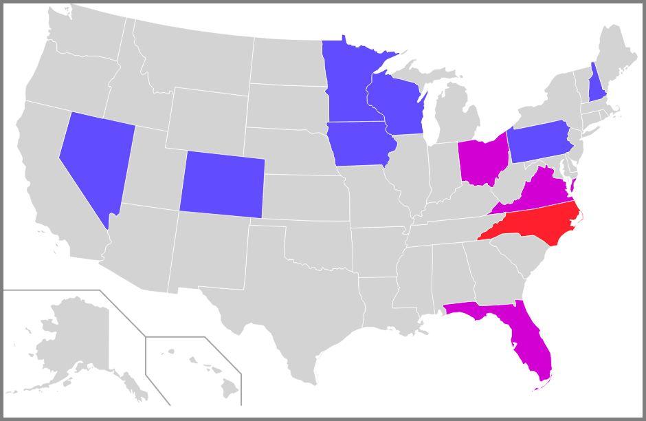 2012년 미국 대선의 '보라색 주'(빨강: 롬니가 0~4% 차로 승리한 주, 보라: 오바마가 0~4% 차로 승리한 주, 파랑: 오바마가 4~8% 차이로 승리한 주, 출처: 위키미디어 CC BY SA 3.0) https://en.wikipedia.org/wiki/Swing_state#/media/File:Swing_states_2012.svg