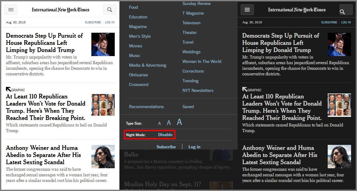 뉴욕타임스의 나이트 모드 기능. 배경과 글자색이 바뀐다.