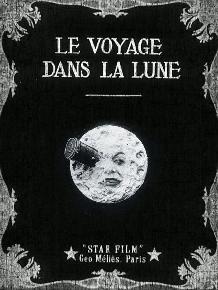 쥘 베른의 원작을 토대로 만든 1902년 죠르주 멜리에스의 영화 [지구에서 달까지](달세계 여행) 포스터