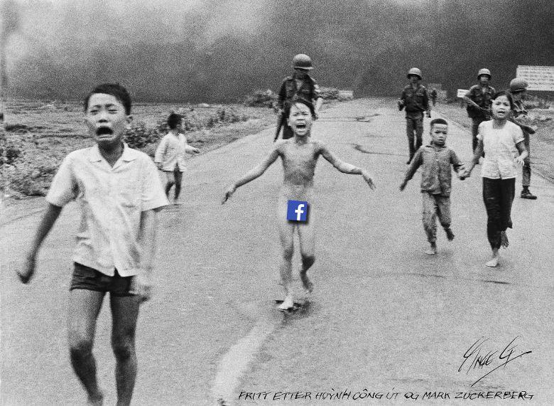 페이스북 '알고리즘'이 함부로 자행하는 검열에 항의하는 의미에서 소녀의 주요 부위를 페이스북 로고로 가린 패러디 사진.