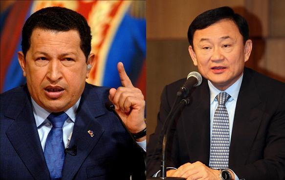 """빈곤 계층 유권자의 분노로 뽑힌 """"선출된 독재자"""" 유형에 속하는 우고 차베스(왼쪽)과 탁신 전 태국 총리."""