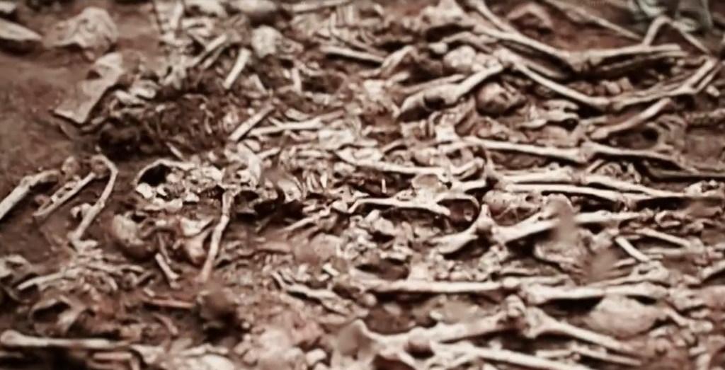 도둑골 유해 발굴 당시의 영상